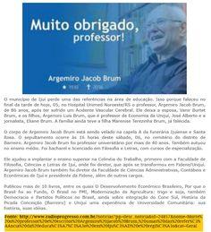 IJUÍ - RS - Memória Virtual: Falecimento do professor e escritor Argemiro Jacob...