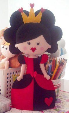 Rainha feltro felt Alice no País das maravilhas