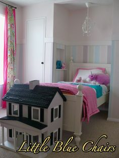 little girl's room makeover with fun striped walls, wainscoting-style