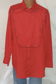 Mens Large Ely Diamond Western Snap Over Bib Front Red Shirt    eBay