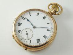 Pocket Watch 9 carat rose gold art deco Chester 1923 Roman numerals