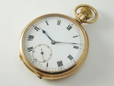 Pocket Watch 9 carat rose gold art deco Chester 1923 Roman numerals