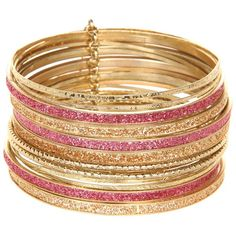 Jessica Simpson Pink and Peach Glitter Bangle Set ($35) ❤ liked on Polyvore