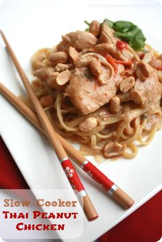 Slow Cooker Thai Peanut Chicken - delicious!  I used frozen chicken and shredded after cooking