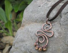 BalsamrootRanch.com  Copper & Jasper Swirl Necklace on Leather by BalsamrootRanch, $49.00