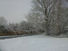 A snowy Sankey Valley Park, Warrington, Cheshire
