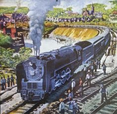 """""""Curve Easement Project, Little Falls, N.Y."""" by Frederick Blakeslee - Cover illustration for Railroad Magazine, July 1948, Vol. 46, No. 2"""