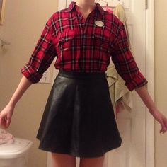 Cute and flirty leather skater skirt with a flannel tucked in! Great for a night out with the girls, a date, or just a day you feel independent and beautiful!