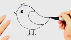 Child Drawing Book Birds Lovely How to Draw A Bird Very Easy Step by Step Bird Drawing For Kids, Simple Bird Drawing, Draw A Bird, How To Draw Birds, Outline Drawings, Bird Drawings, Animal Drawings, Cute Drawings, Easy Drawings For Beginners