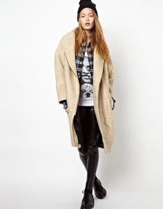 Eleven Paris Taylor Cream Overcoat with Leather Tabs