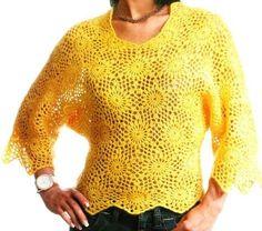 Crochet - Yellow Blouse II  http://crochetemoda.blogspot.ca/2012_06_01_archive.html