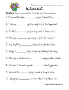 Using Go Going Went Fill in the Blank Worksheet, students conjugate verb GO through the different conjugations depending on the subject of the sentence. Is Am Are Worksheets, Worksheets For Class 1, Hindi Worksheets, English Worksheets For Kids, English Activities, English Grammar For Kids, Teaching English Grammar, English Writing Skills, Learn English Words