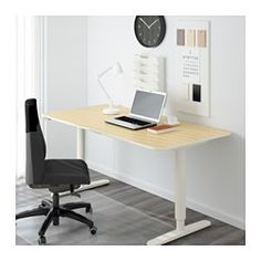 IKEA - BEKANT, Desk sit/stand, birch veneer/white, , 10-year Limited Warranty. Read about the terms in the Limited Warranty brochure.Changing positions between sitting and standing helps you both feel and work better.The veneer surface is durable, stain resistant and easy to keep clean.It's easy to keep your desk neat and tidy with the cable management net under the table top.Deep table top gives a generous work surface and lets you sit at a comfortable distance from the computer monitor.