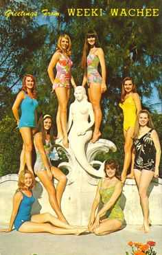 WEEKI WACHEE MERMAIDSThe Weeki Wachee Mermaids pose for photographers with the Mermaid Statues which adorn the newly decorated front of Weeki Wachee, just north of Tampa, St. Petersburg, and Clerawater on U. Visit Florida, Old Florida, Vintage Florida, Florida Trips, Vintage Postcards, Vintage Ads, Weeki Wachee Florida, Weeki Wachee Mermaids, Kitsch