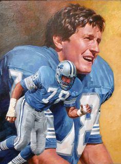 Portrait of Doug English (Detroit Lions) painted by artist Chuck Ren