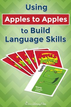 Apples to Apples Junior: Game Review + Printable Game Sheet Reading Games, Reading Resources, Teaching Reading, Teaching Tips, Guided Reading, Speech Therapy Games, Apples To Apples Game, Language Development, Vocabulary Words