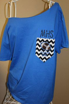 CUSTOM Football Wife Pocket Off-the-Shoulder Shirt Chevron on Etsy, $32.00