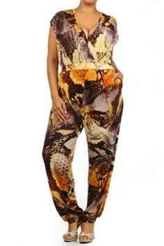 #salediem #fashion #bottoms  #rompers #jumpsuits #curvey Plus Snakeskin print, wrapped jumpsuit #salediem #fashion #bottoms  #rompers #jumpsuits #curvey