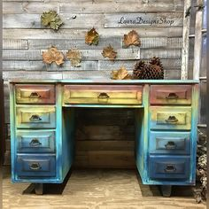blue red yellow painted desk - multicolored painted desk - painted furniture - free shipping #affiliate