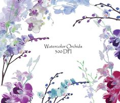 Watercolor Orchids Clip Art High Resolution Graphic Digital