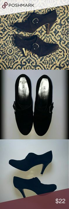 Anne Klein Black Bootie Heels Anne Klein  Black Suede like material  Silver Buckle for decoration  3.5 inch heel  Size 7.5  GREAT Condition! [ Only worn a few times ]  Very Comfortable!  Thanks for reading! Anne Klein Shoes Heels