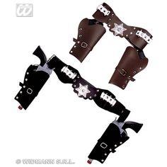Cowboy Holster Dubbel Bruin - Wapens & Werktuigen - Accessoires - De Feestwinkel