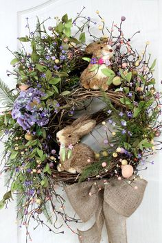 Easter Door Wreath Primitive Country Wreath by FloralsFromHome, $173.00