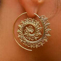 Bala Brass Earrings Brass Spiral Earrings Gypsy by RONIBIZA