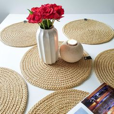 Table D'or, Gold Table, Dining Table, Crochet Placemats, Christmas Placemats, Leather Label, Graduation Decorations, Great Housewarming Gifts, Crochet Rope