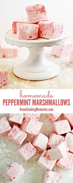 Homemade Peppermint Marshmallows Recipe -- so delicious in a cup of hot chocolate! Also makes a great homemade food gift for the holidays - maybe even dip them in chocolate??