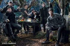 Evandro, Mariano, Misa, Noah and Ryan for Dolce and Gabbana Fall Winter 2014.15  Top models Evandro Soldati, Mariano Ontanon, Misa Patinszki, Noah Mills and Ryan Barrett join forces for Dolce & Gabbana's Fall Winter 2014.15 Menswear campaign captured by Domenico Dolce.