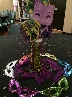 Mardi Gras Decor Centerpieces with beads and masks