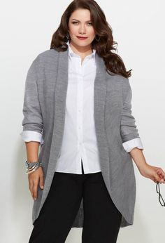 Would look better with a belt - just saying.Plus Size Long Shawl Collar Cardigan Plus Size Professional, Professional Wardrobe, Work Fashion, Curvy Fashion, Plus Size Fashion, Mode Outfits, Fashion Outfits, Mode Costume, Plus Size Looks
