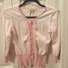 Forever 21 Polka Dot Cardigan Size Small Size small cream cardigan with blush pink polka dots and lace trim Forever 21 Sweaters Cardigans