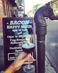 Run!  Don't walk down to the #FrenchQuarter...It is Bacon Happy Hour at Orleans Grapevine Wine Bar & Bistro!  Happy Hour Specials on Wine & Cocktails with Free Bacon Included.  #yesindeed  #bacon #followyournola #igersnola #visitneworleans #cocktails #Happyhour #frenchquarter #wine #friday #nola #NewOrleans #showmeyournola #girlsnight #orleansgrapevine #orleansgrapevinewinebar by girlsguidetoneworleans