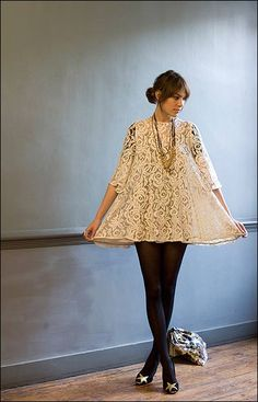 lace up with Alexa Your Style, Style Me, Vogue, Alexa Chung Style, Smocking, Lace Dress, Lace Tunic, Babydoll Dress, Smock Dress
