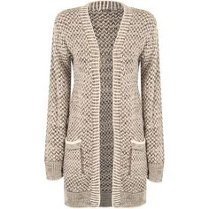 Alanis Knitted Pocket Cardigan (2.175 RUB) ❤ liked on Polyvore featuring tops, cardigans, stone, brown tops, long sleeve cardigan, cardigan top, pocket tops and striped long sleeve top