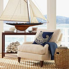 Coastal living room with a beautiful sailboat!