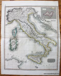 Italy - Antique Maps and Charts – Original, Vintage, Rare Historical Antique Maps, Charts, Prints, Reproductions of Maps and Charts of Antiquity