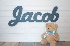 Nursery name sign Baby Name Plaque Large PAINTED Personalized nursery name baby wall hanging nursery decor wooden wall art, above a crib