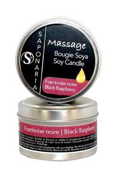 Bougie soya massage - Framboise noire - Référence : 44143  #Quebec #Santé #Beauté #Cadeau #Fête #Maison