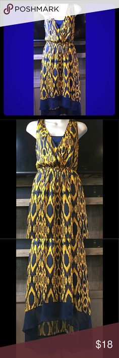 🎀VERA WANG DRESS SLIGHTLY SHEER NWOT CAMI SLIP 🎀VERA WANG DRESS SLIGHTLY SHEER NWOT CAMI SLIP ATTACHED SZ XS BEAUTIFUL NO RIPS TEARS HOLES SNAGS STAINS. TRIED ON BUT NEVER WORN ROYAL BLUE AND GOLD Vera Wang Dresses High Low