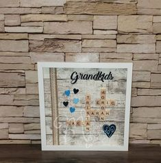 Scrabble Tile Frame for Grandparents | Etsy Scrabble Letters, Scrabble Tiles, Brown And Grey, Black And White, Frame Sizes, Wall Spaces, Grandparents, Shadow Box, No Response