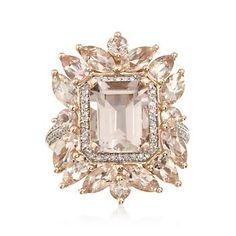 4.70 ct. t.w. Pink Mogranite and .25 ct. t.w. Diamond Ring In 14kt Rose Gold. Size 4.5....want this ring!!