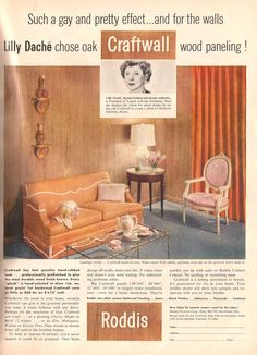 Roddis Craftwall paneling ad with Lilly Dache, from Better Homes and Gardens, July 1958