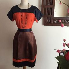 Classic Color Block A-line Dress on Carousell