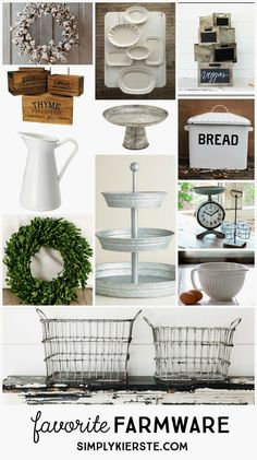 Kitchen Decor Favorite Farmware And Where To Find It. - A list of my favorite farmhouse style decor--classic pieces that will fit several different styles--plus all the resources on how and where to find them! Country Farmhouse Decor, Farmhouse Style Decorating, Rustic Decor, Modern Farmhouse, Industrial Farmhouse, Farmhouse Ideas, Vintage Farmhouse, Home Decor Kitchen, Rustic Kitchen