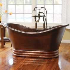 "Native Trails CPS91 Aurora 60"" Free Standing Soaking Bathtub With Center Drain Antique Copper Tub Soaking Freestanding Copper Bathtub, Antique Bathtub, Copper Mirror, Copper Bathroom, Freestanding Bathtub, Tin Bathtub, Whirlpool Bathtub, Wooden Bathtub, Moroccan Bathroom"