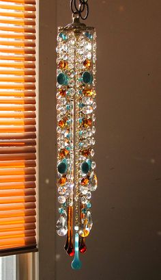 Turquoise and copper vintage crystal wind chimes sun catcher. by Leah. sold.