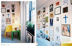 Gallery wall - incorporating kid's artwork.